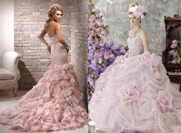 Розовое свадебное платье пышное фото