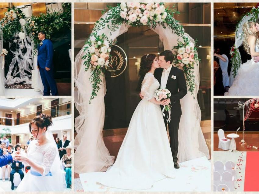 Красивая церемония регистрации брака в Московском отеле «Бородино»