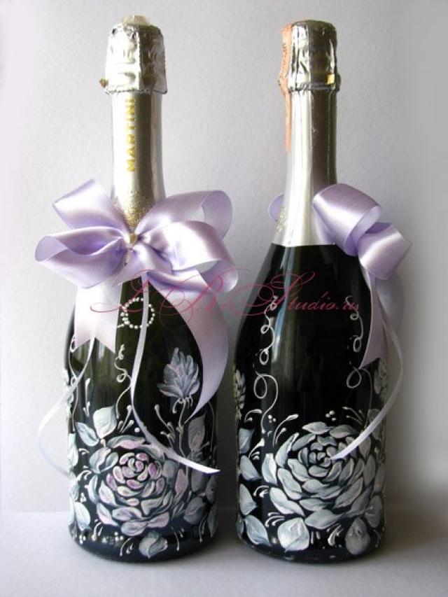 Украшение на бутылки на свадьбу своими руками