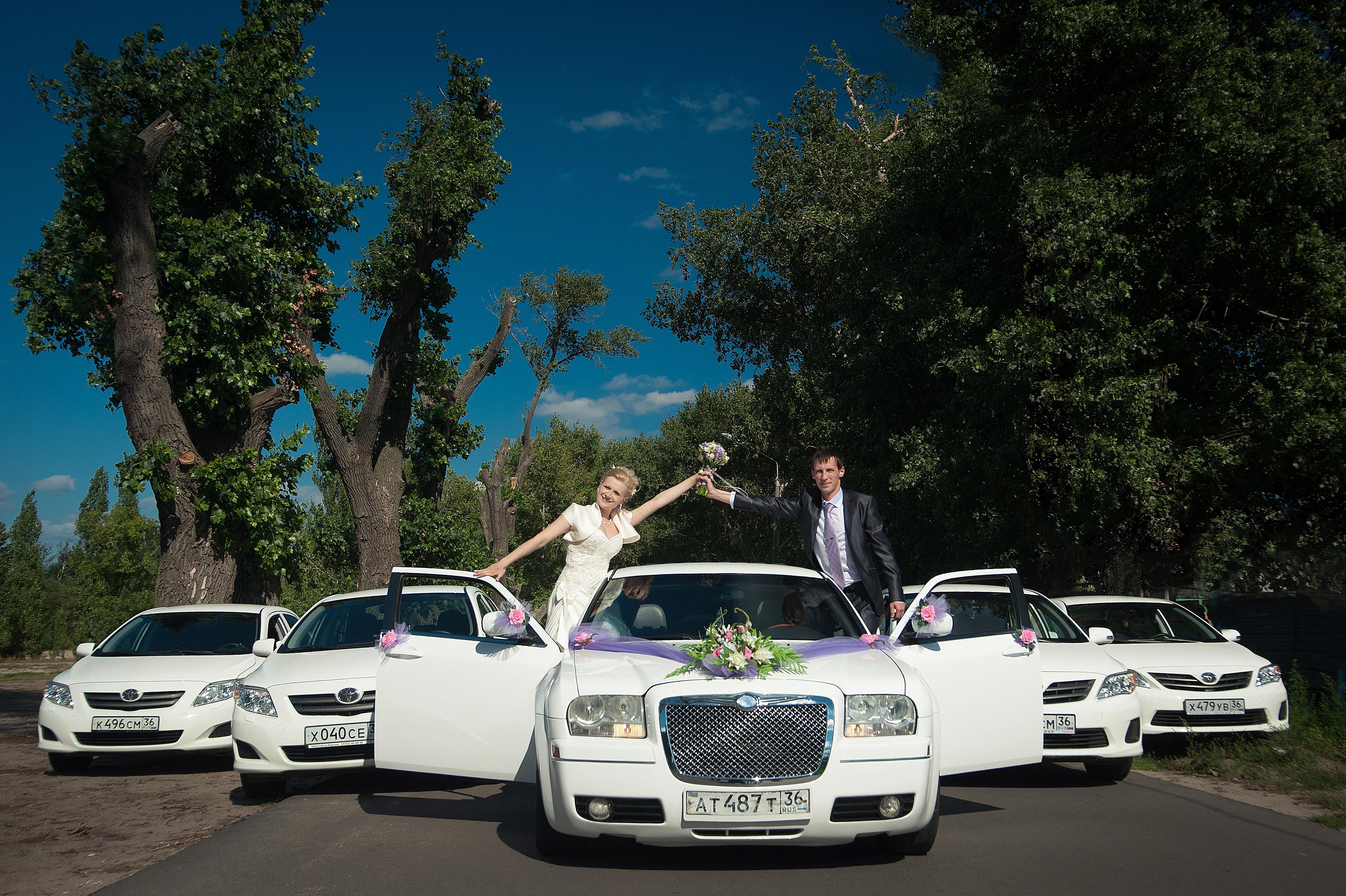 Кортеж машины для свадьбы